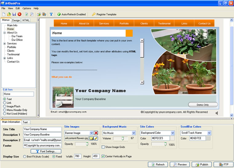 a4deskpro is a powerful, easy to use, all-in-one flash website, Powerpoint templates